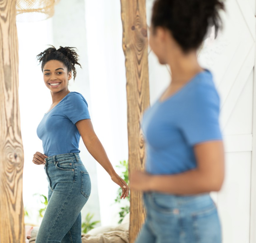 Joyful Girl After Slimming Weight Loss
